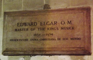 A plaque dedicated to the memory of Sir Edward Elgar, who was himself born near Worcester and was laid to rest inLittle Malvern.