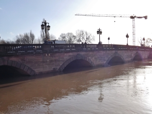 The swollen River Severn in Worcester following the recent snow and flooding.