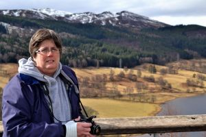 My friend Carole enjoying the splendid view across Loch Tummel.